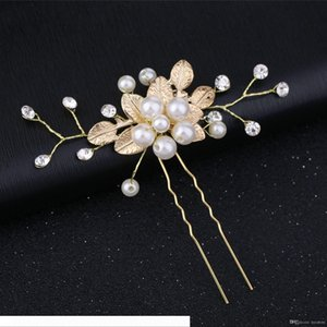 Gold Flower Leaf U shape Hair Sticks Pearl Clip Vintage Pins Wedding Hair Accessories Crystal Rhinestone Bridal Head Piece