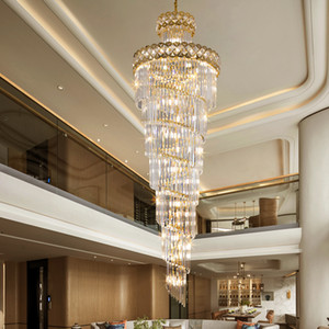 Long crystal chandelier lighting for villa stairs hotel hall new patent  hanging lamps classic gold pendant lights with led bulbs