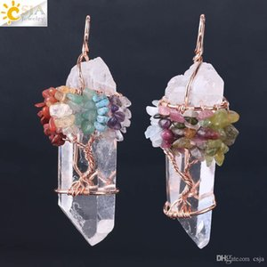 CSJA Мужчины Большой Камень Подвеска Женщины натуральный белый кристаллический кварц 7 Чакра Древо жизни розового золота ручной проволоки, свернутой ожерелье Подвески F517