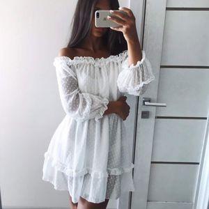 Werynica 2020 new women's summer ruffle dress white dress bare shoulders slash neck women mini beach dresses for female