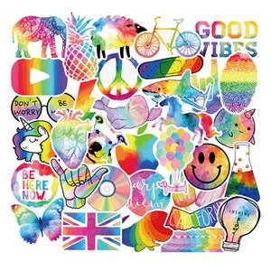 Pack of 50pcs Wholesale Fancy Rainbow Color Cute Stickers Colorful vinyl decals Guitar Laptop Skateboard Motor Bottle Car Decal Bulk Lots