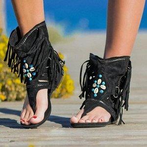 Богемия лето Женщины Сандал Рим Thong Гладиатор Flat Sandals Этнический стиль моды кисточки дамы лодыжки Сандал обуви