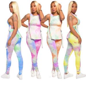 Конструктор женщины два куска набора New Printed рукава бинты Tshirt плиссе Zipper карандаш брюки наряды Sexy жилет Поножи Повседневной одеждой Cy7