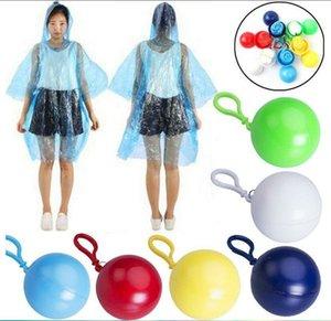 One-time Raincoat Spherical Ball Keychain Water proof Hood Poncho Emergency Rainwear Angling Tour Disposable Rainwear Unisex Raincoat BLSK66