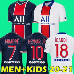 20 21 maillots دي القدم MBAPPE لكرة القدم جيرسي ICARDI أعلى تايلند 2020 2021 باريس قميص كرة القدم كافاني Camiseta دي فوتبول الرجال الاطفال
