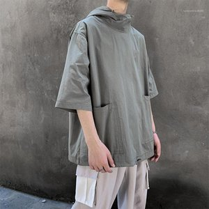 Erkek High Street Tees Yaz Kaykay Top Mens Kapşonlu Kısa Kollu T Shirt Katı Renk Gevşek ile Big Cep