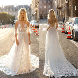 Sexy New Collection Gali Karten A Line Wedding Dresses Spaghetti Straps Lace Appliques Backless Boho Wedding Dress Bohemian Bridal Gowns