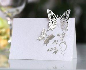 mesa borboleta casamento cartão de banco sign-in no balcão Kit do convite do casamento Cartão branco Laser cartão de assento oco tridimensional