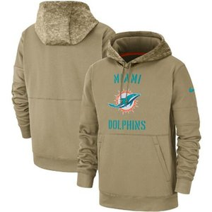 Miami Men Women Kid Dolphins Tan Vintage Sweatshirt 2020 Salute to Service Sideline Therma Pullover Hoodie