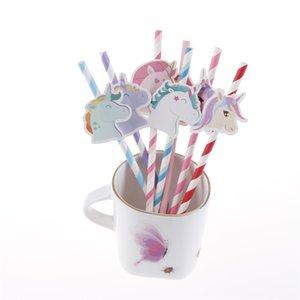 Sevimli Unicorn Kağıt İçme Pipetler Unicorn Tek Kağıt Payet Çocuk Doğum Tatlı Süsleri Parti Malzemeleri araya