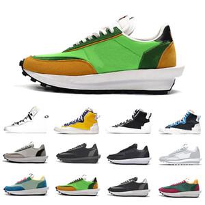 Sacai x Nike LDV Waffle Дешевая тройная черный Sacai X LDV вафельного рассвет Тренеры Mens Кроссовок для женщин Varsity Синего Pine Green Gusto Спорт на открытом воздухе кроссовок