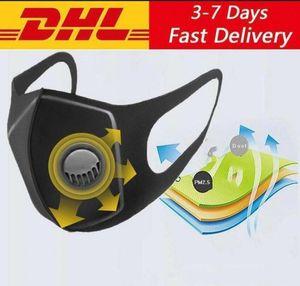 호흡 밸브 블랙 디자이너와 미국 주식 아이스 실크 페이스 마스크 블랙 재활용 밸브 마스크 재사용 방지 먼지 보호 마스크 마스크 세척