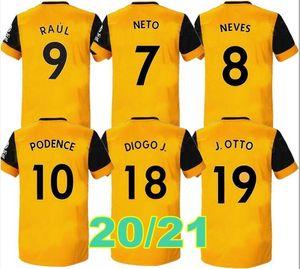 2020 Wolves football maillot jaune Accueil J.MOUTINHO RAUL NEVES chemises de football Podence Dendoncker ADAMA Wolves de football uniformes 20/21