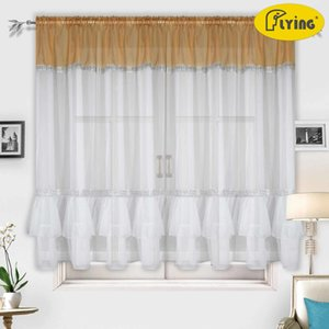 Flying Tulle Curtain For Bay Window Perspective Voile Living room Curtains Geometric Printed Solid Sheer Curtains Y200421