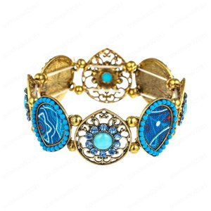 Vintage Water Drop Style Hollow with Colorful Beads Elastic Band Bracelet Hollow Acrylic Bangle for Women Men Jewelry