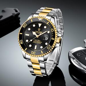 Fashion Brand Men Stailness steel Band Automatic Mechanical Watch Fashion Calendar Display Business Mens Watch