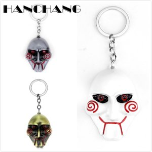 HANCHANG Accessories Horror Movie Jewelry SAW Mask Keychains Men Boys Personalised Keyring Key Chains for Bags