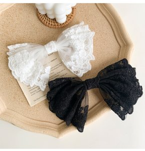 Clips de encaje Bowknot grande abrazadera de resorte Hada-Style clips dulce 2 del pelo Negro blanco de la mariposa del arco Elección de las horquillas de la muchacha Joyería Accesorios para el cabello