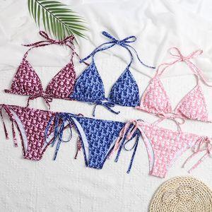2020 Women Sexy Swimwear Bra God Save Queens Letters Print Beachsuit Bikini Suit Bandage Triangle Swimsuit Black Bikini Set