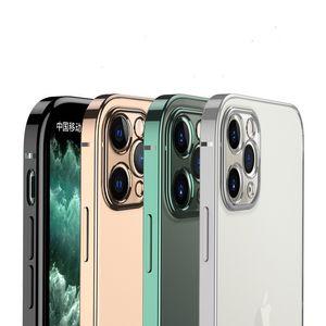 투명 아크릴 실리콘 충격 방지 케이스 아이폰 11 프로 맥스 범퍼 도금 아이폰 12