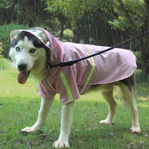 디자이너 큰 강아지 옷 반사 및 방풍 새로운 애완 동물 비옷 후드 입고 비 기어에 쉽게 판쵸 지퍼 방수 개