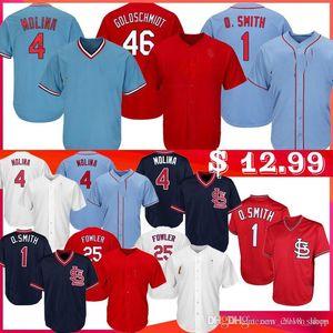 Goldschmidt 4 Yadier Molina Jerseys de béisbol Men 1 Ozzie Smith 25 Dexter Fowler 46 Paul Goldschmidt Jersey