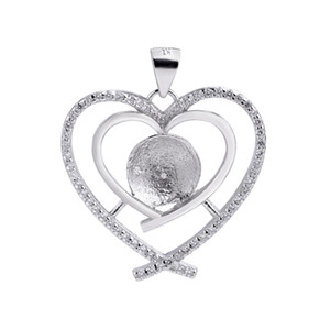 DIY Gift 925 Sterling Silver Double Heart Pendant Cubic Zirconia Surrounded for Pearl Findings 5 Pieces