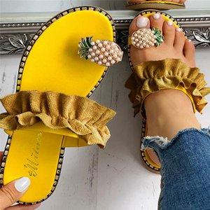 ABER Donne Slipper Ananas Pearl piatto Toe Boemia casuali della spiaggia dei sandali delle signore dei pattini della piattaforma 2020 Nero diapositive all'ingrosso
