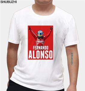 F1 المتسابق الاسباني فرناندو الونسو النصر الرجال نمط T قميص القطن جديد المطبوعة أزياء قصيرة الأكمام تي شيرت الأعلى تيز اليورو الحجم