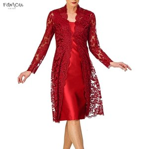 Womens Elegante Casual Dresses Two Pieces Charming Solid Mother Of The Bride Lace Dresses Vestidos Noble Elegant Dress Robe Femme D717