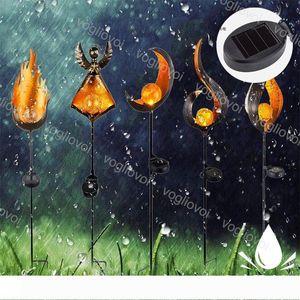 Solar Garden Lights Flame Iron ABS Night Lamp Warm White Outdoor Ip65 For Pathway Courtyard Garden Lawn Landscape DHL