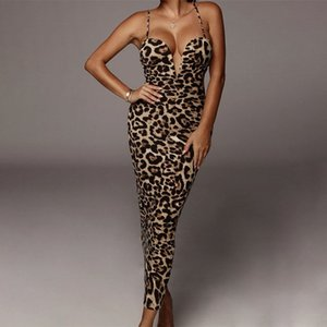 BKLD Women V-neck Leopard And Snake Printed Sling Dresses Backless Sexy Slim Pullover Ladies Long Dress Fashion Club Party Wear T200710