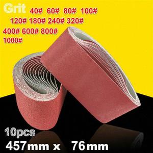 10Pcs 76 * 457mm abrasivi nastri abrasivi 40-1000 Bands graniglia abrasiva per Sander Power Tools 4BVS #