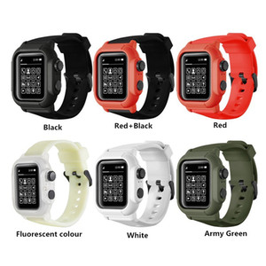 Full Protection IP68 Waterproof Cases for Apple Watch Series 5 4 3 2 1 for iWatch 42mm 44mm 38mm 40mm Cover Silicone Strap Sport Band Cover