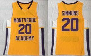 Montverde Academy 20 Ben Simmons Jersey Cousu broderie Les hommes de basket-ball Collège Maillots HIGH SCHOOL Uniforme porte JERSEY