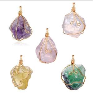 jolie Nature Pendentifs Pierre améthyste Rose Quartz cristal blanc cristal citron fluorite Charms Pierre Collier Pour GD475