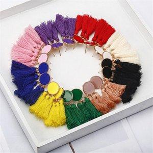 Bohemian Tassel Dangle Earring Boho Round Drop Earrings for Women Girl Wedding Beach Party Long Fringed Stud Earrings Statement Jewelry Gift