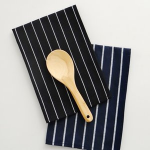 12 Pcs lot Family daily use Mediterranean blue series anti fade 100% cotton dark blue striped Kitchen dining table napkins Tea towels