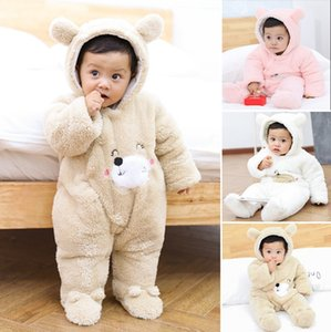 Winter Baby Clothes Thick Baby Girl Rompers Cartoon Infant Boys Hoodie Jumpsuit Toddler Outerwear Baby Clothing 3 Colors DW4650