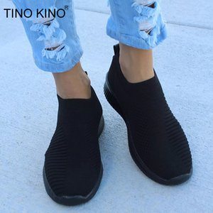 TINO KINO Women Flat Knitting Autumn Sneakers Shoes New 2019 Plus Size Female Mesh Vulcanized Ladies Slip On Breathable Casual CX200720