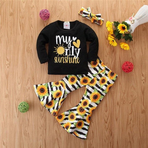 Mädchen-Kleidung Langarm-Set New Herbst 2020 Kinder Brief gedruckt lange Hülse mit Flare Pants Sunflower Zweiteiler Dall #