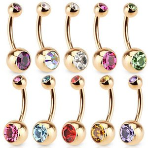 Charm Gold Color Belly Button Ring Rhinestones Cartilagem Navel Bar Crystal Body Piercing 9 Colors Punk Hot New Jewelry
