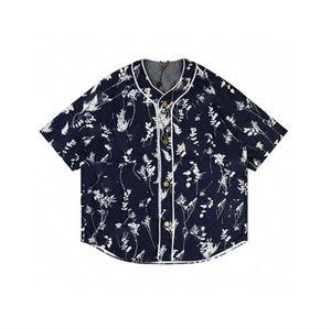 20ss Flowering Branch Baseball mens designer jacket Wheat Ear denim short sleeve tshirts Fashion Casual Street Men Women
