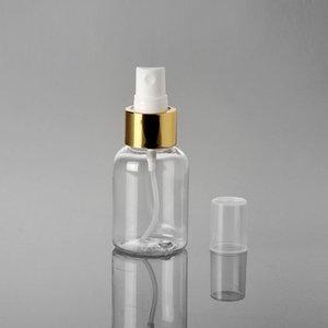 50ml / 1.7oz plástico transparente Frascos do pulverizador Cosmetic Essence Toner Bebida Alcoólica Disinfector de carregamento do contentor com Gold Circle