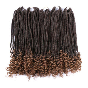 18 Inch Crochet Box Braids Curly End Hair Extensions 100g pc Brown Synthetic Ombre Braiding Hair Low Temperature Fiber