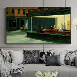 Famosa pintura de Edward Hopper Nighthawks lona pintura Posters e Art Prints para Living Room Home Decor (No Frame)