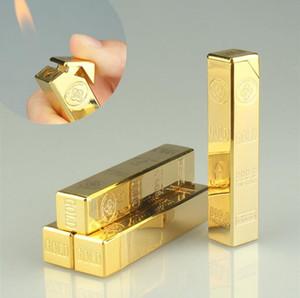 El más reciente de lingotes de gas butano en forma de encendedor de oro de ladrillo larga barra de metal del cigarrillo de la llama de encendedores de cigarros por fumar utensilios de cocina Accesorios