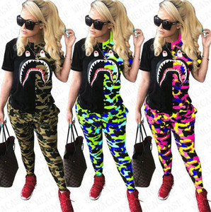 2020 Camouflage Women Sharks Tracksuits Camo Patchwork T-shirts + Legging Pants Outfits Designer Sweat Suit Two Piece Sets Clothing D72708
