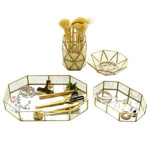 Retro Brass Storage Tray Golden Polygon Glass Makeup Organizer Tray Dessert Snack Plate Jewelry Display Stand Home Kitchen Decor