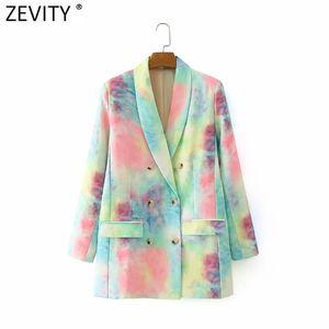 Zevity Femmes Mode double boutonnage coloré Tie-dye Manteau Blazer Femme manches longues Costume Casual Chic Marque-vêtement Hauts CT557